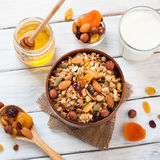 Granola in a wooden bowl. Royalty Free Stock Photography