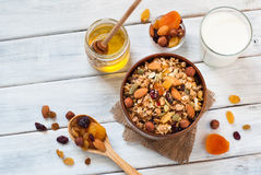 Granola in a wooden bowl. Stock Photo