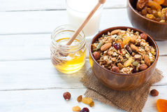 Granola in a wooden bowl. Stock Photography