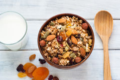 Granola in a wooden bowl. Stock Images