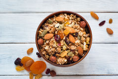 Granola in a wooden bowl. Stock Image