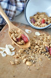 Granola on wooden spoon Royalty Free Stock Images