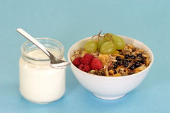 Granola and Yoghourt. Granola with fresh fruits and yoghourt on light blue background Royalty Free Stock Images