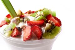 Granola with yoghurt and berries stock photography