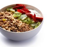 Granola with yoghurt and berries stock photo