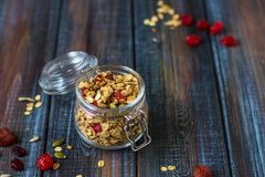Granola with yoghurt, dried berries and pumpkin seeds Royalty Free Stock Image