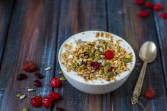 Granola with yoghurt, dried berries and pumpkin seeds Royalty Free Stock Photography