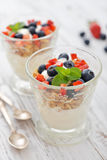 Granola with yogurt and berries Royalty Free Stock Photos
