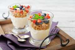 Granola with yogurt and berries Royalty Free Stock Images