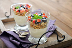Granola with yogurt and berries Stock Photo