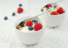 Granola with yogurt and berries Royalty Free Stock Photo