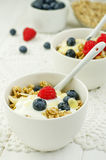 Granola with yogurt and berries Royalty Free Stock Image