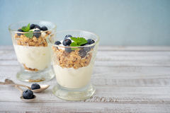 Granola with yogurt Royalty Free Stock Photography