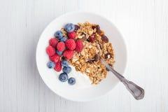 Granola with yogurt in bowl. stock photography