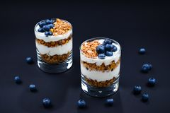 Granola z jogurtem i czarne jagody w szkle zdjęcie royalty free