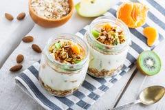 Granola z jogurtem i owoc fotografia royalty free