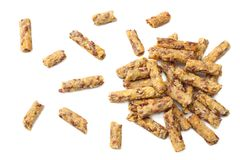 Granolafrukost som isoleras på vit bakgrund Mysli sund mat stångsädesslag bantar kondition Top beskådar royaltyfri foto