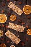 Granolastänger med torkat - frukt och muttrar Arkivbild