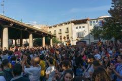 Granollers, Catalonia, Hiszpania, Październik 3, 2017: paceful ludzie w protescie zdjęcie royalty free