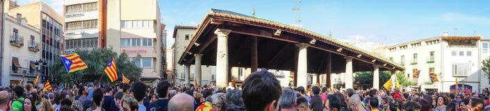 Granollers, Catalonia, Hiszpania, Październik 3, 2017: paceful ludzie w protescie obrazy royalty free
