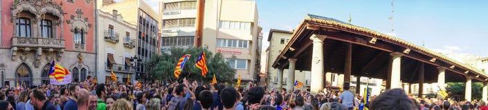 Granollers, Catalonia, Hiszpania, Październik 3, 2017: paceful ludzie w protescie zdjęcia royalty free