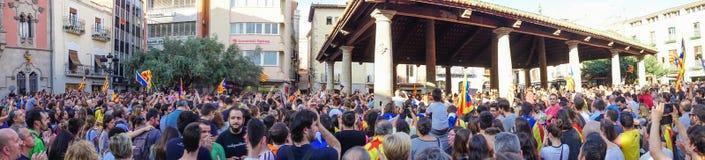 Granollers, Catalonia, Hiszpania, Październik 3, 2017: paceful ludzie w protescie obraz stock