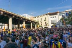Granollers, Catalonia, Hiszpania, Październik 3, 2017: paceful ludzie w protescie zdjęcie stock