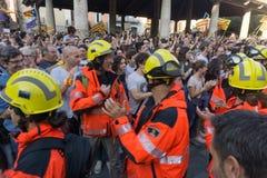 Granollers, Catalonia, Hiszpania, Październik 3, 2017: paceful ludzie w protescie obraz royalty free