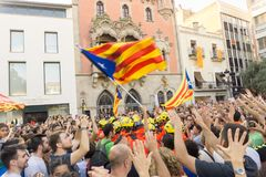 Granollers, Catalonia, Hiszpania, Październik 3, 2017: paceful ludzie w protescie obrazy stock
