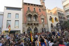 Granollers, Catalonia, Hiszpania, Październik 3, 2017: paceful ludzie w protescie fotografia stock