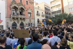 Granollers, Catalonia, Hiszpania, Październik 3, 2017: paceful ludzie w protescie przeciw hiszpańskiemu zdjęcie stock