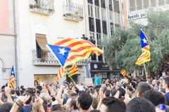 Granollers, Catalonia, Hiszpania, Październik 3, 2017: paceful ludzie w protescie przeciw hiszpańskiemu obraz royalty free