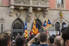 Granollers, Catalonia, Spain, October 3, 2017: paceful people in protest against spanish royalty free stock photography