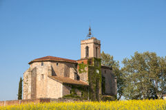 Granollers Church. Ancient church surrounded by vegetation Granollers stock images