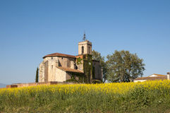 Granollers Church. Ancient church surrounded by vegetation Granollers royalty free stock photo