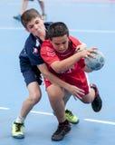 Granollers KOPP 2013. Spelare som slåss bollen Royaltyfria Foton