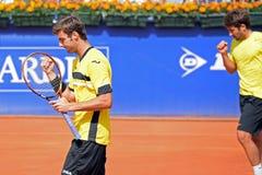 Granollers (salido) y López (derecho) celebran un punto en el ATP Barcelona Foto de archivo