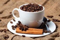 Granos, canela y anís de café en taza de café fotografía de archivo libre de regalías