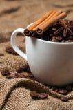 Granos, canela y anís de café en taza de café imagen de archivo libre de regalías