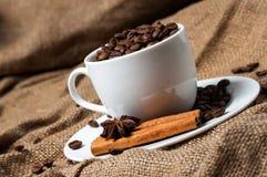 Granos, canela y anís de café en taza de café Fotos de archivo