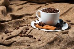 Granos, canela y anís de café en taza de café Imagen de archivo