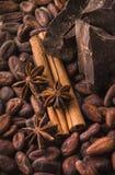Granos de cacao crudos, chocolate negro, palillos de canela, anís de estrella imágenes de archivo libres de regalías