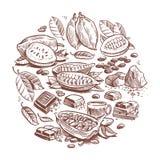 Granos de cacao dibujados mano, diseño del chocolate Garabatee el gráfico de vector del árbol de cacao aislado en el fondo blanco stock de ilustración