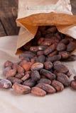 Granos de cacao en una bolsa de papel fotos de archivo