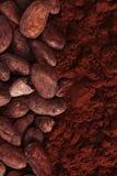 Granos de cacao y fondo del polvo Foto de archivo libre de regalías