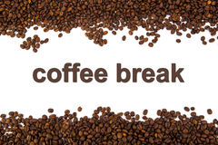 Granos de café asados con título ilustración del vector