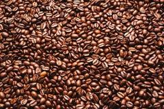 Granos de café asados Fondo, visión superior Foto de archivo