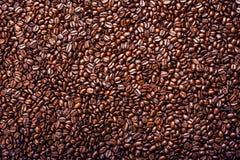 Granos de café asados Fondo, visión superior Fotos de archivo