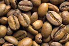 Granos de café asados luz, visión superior fotografía de archivo libre de regalías