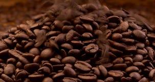 Granos de café asados que caen abajo metrajes
